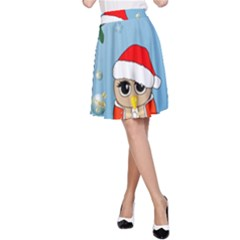 Funny, Cute Christmas Owls With Snowflakes A-Line Skirts