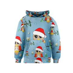 Funny, Cute Christmas Owls With Snowflakes Kid s Pullover Hoodies