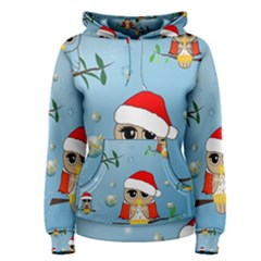 Funny, Cute Christmas Owls With Snowflakes Women s Pullover Hoodies
