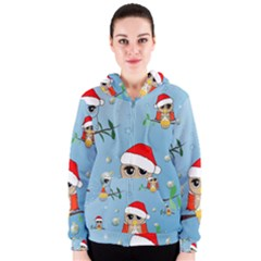 Funny, Cute Christmas Owls With Snowflakes Women s Zipper Hoodies