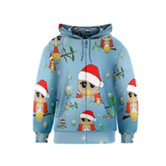 Funny, Cute Christmas Owls With Snowflakes Kids Zipper Hoodies