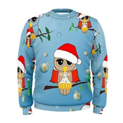Funny, Cute Christmas Owls With Snowflakes Men s Sweatshirts