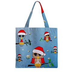 Funny, Cute Christmas Owls With Snowflakes Zipper Grocery Tote Bags