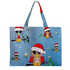 Funny, Cute Christmas Owls With Snowflakes Zipper Tiny Tote Bags