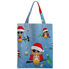 Funny, Cute Christmas Owls With Snowflakes Zipper Classic Tote Bags