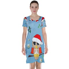Funny, Cute Christmas Owls With Snowflakes Short Sleeve Nightdresses