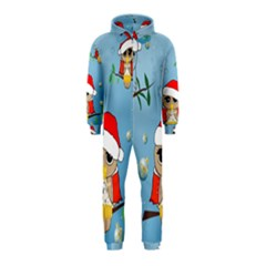 Funny, Cute Christmas Owls With Snowflakes Hooded Jumpsuit (Kids)