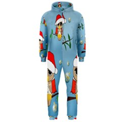 Funny, Cute Christmas Owls With Snowflakes Hooded Jumpsuit (Men)