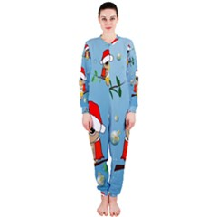 Funny, Cute Christmas Owls With Snowflakes OnePiece Jumpsuit (Ladies)