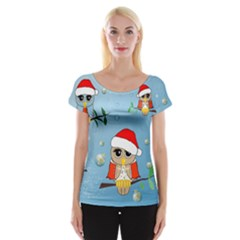 Funny, Cute Christmas Owls With Snowflakes Women s Cap Sleeve Top