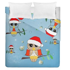 Funny, Cute Christmas Owls With Snowflakes Duvet Cover (full/queen Size)