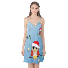 Funny, Cute Christmas Owls With Snowflakes Camis Nightgown