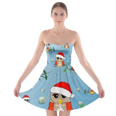 Funny, Cute Christmas Owls With Snowflakes Strapless Bra Top Dress