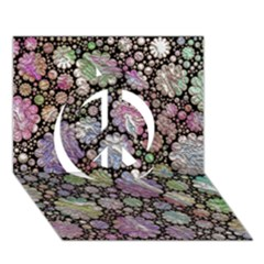 Sweet Allover 3d Flowers Peace Sign 3d Greeting Card (7x5)