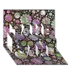 Sweet Allover 3d Flowers TAKE CARE 3D Greeting Card (7x5)