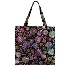 Sweet Allover 3d Flowers Zipper Grocery Tote Bags