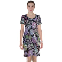 Sweet Allover 3d Flowers Short Sleeve Nightdresses