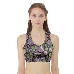 Sweet Allover 3d Flowers Women s Sports Bra with Border