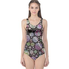 Sweet Allover 3d Flowers Women s One Piece Swimsuits