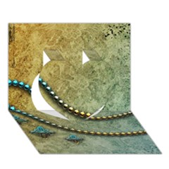 Elegant Vintage With Pearl Necklace Heart 3d Greeting Card (7x5)