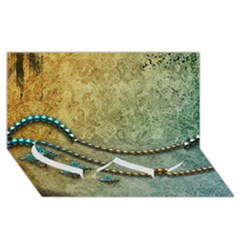 Elegant Vintage With Pearl Necklace Twin Heart Bottom 3d Greeting Card (8x4)