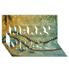 Elegant Vintage With Pearl Necklace Merry Xmas 3D Greeting Card (8x4)