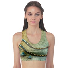 Elegant Vintage With Pearl Necklace Sports Bra