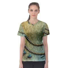 Elegant Vintage With Pearl Necklace Women s Sport Mesh Tees