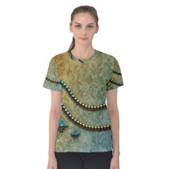 Elegant Vintage With Pearl Necklace Women s Cotton Tees