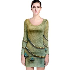 Elegant Vintage With Pearl Necklace Long Sleeve Bodycon Dresses