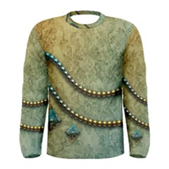Elegant Vintage With Pearl Necklace Men s Long Sleeve T Shirts
