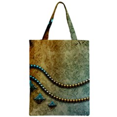 Elegant Vintage With Pearl Necklace Zipper Classic Tote Bags