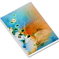 Wonderful Flowers In Colorful And Glowing Lines Large Memo Pads