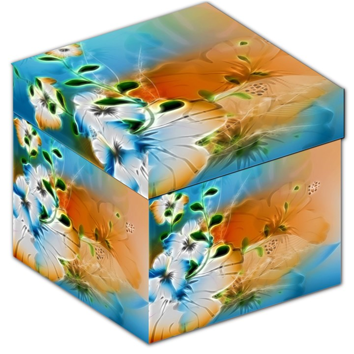 Wonderful Flowers In Colorful And Glowing Lines Storage Stool 12