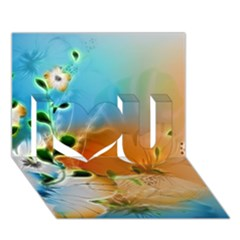 Wonderful Flowers In Colorful And Glowing Lines I Love You 3d Greeting Card (7x5)