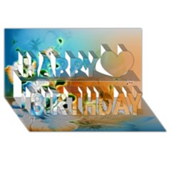 Wonderful Flowers In Colorful And Glowing Lines Happy Birthday 3d Greeting Card (8x4)