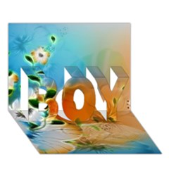 Wonderful Flowers In Colorful And Glowing Lines Boy 3d Greeting Card (7x5)
