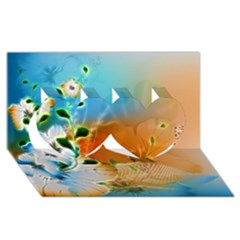 Wonderful Flowers In Colorful And Glowing Lines Twin Hearts 3D Greeting Card (8x4)