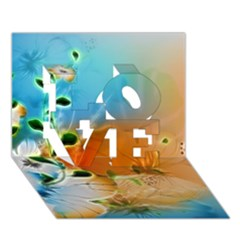 Wonderful Flowers In Colorful And Glowing Lines Love 3d Greeting Card (7x5)
