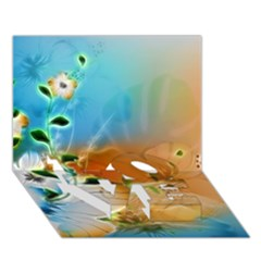 Wonderful Flowers In Colorful And Glowing Lines Love Bottom 3d Greeting Card (7x5)