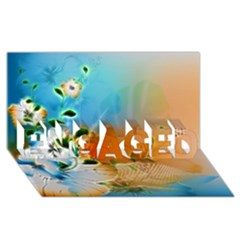 Wonderful Flowers In Colorful And Glowing Lines Engaged 3d Greeting Card (8x4)