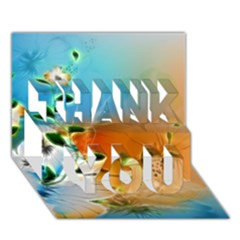 Wonderful Flowers In Colorful And Glowing Lines Thank You 3d Greeting Card (7x5)