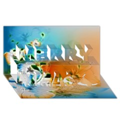 Wonderful Flowers In Colorful And Glowing Lines Merry Xmas 3D Greeting Card (8x4)