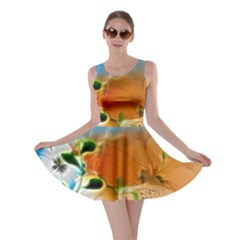 Wonderful Flowers In Colorful And Glowing Lines Skater Dresses