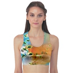 Wonderful Flowers In Colorful And Glowing Lines Sports Bra