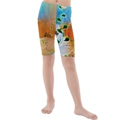 Wonderful Flowers In Colorful And Glowing Lines Kid s Swimwear