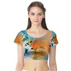 Wonderful Flowers In Colorful And Glowing Lines Short Sleeve Crop Top
