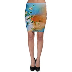 Wonderful Flowers In Colorful And Glowing Lines Bodycon Skirts