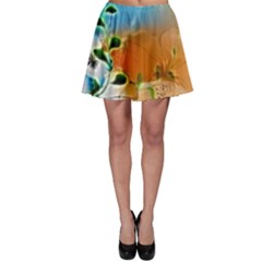 Wonderful Flowers In Colorful And Glowing Lines Skater Skirts