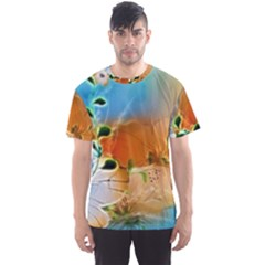 Wonderful Flowers In Colorful And Glowing Lines Men s Sport Mesh Tees